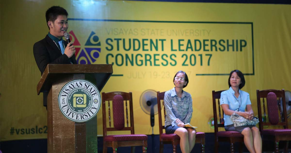 TAKE IT FROM ME. Former student leader Marjhun Ricarte keynotes the Student Leadership Congress as Prof. Aleli Villocino, USSC adviser, and Ms. Cristy Tauy, VSU's student organizations in-charge, look on. Photo by VSU Media Team.