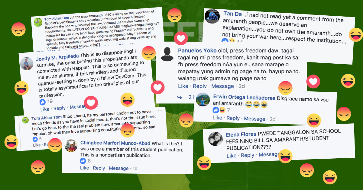 ANGRY REAX. Amaranth received harsh criticisms after posting an official statement condemning SEC's ruling to Rappler.